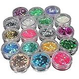 Ungfu 18 colori Mall-Glitter polvere di stelle per Nail Art su unghie con lustrini