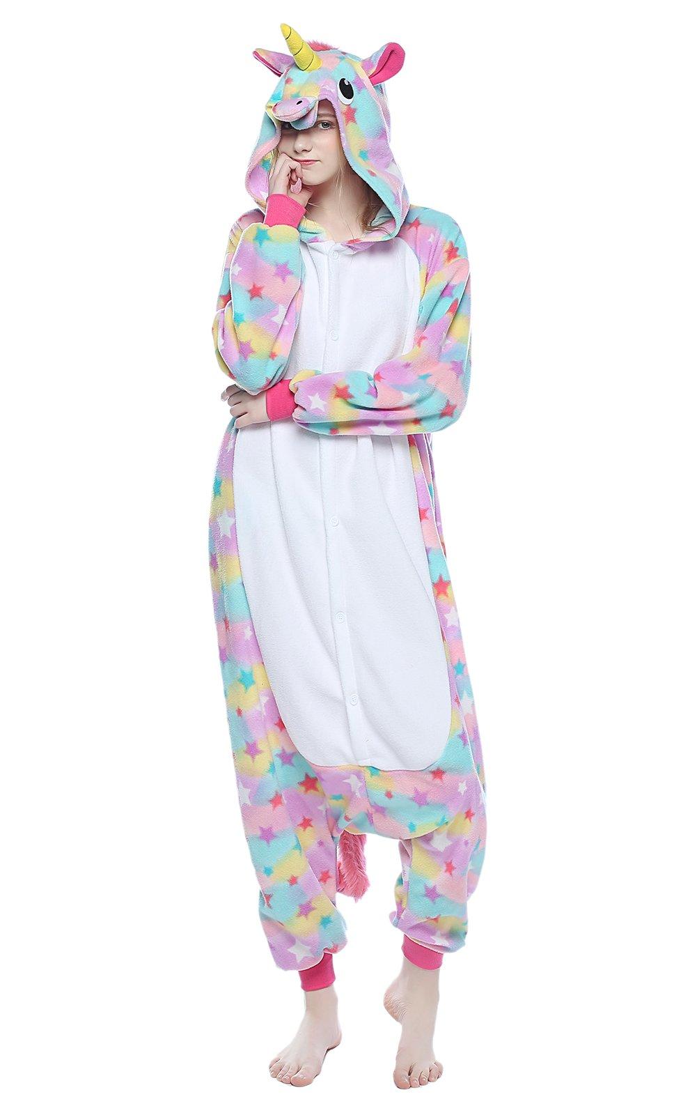 PECHASE Halloween Adult Pajamas Sleepwear Animal Cosplay Costume (M, Star Unicorn)