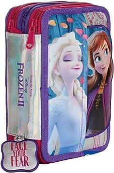 Estuche escolar Frozen II Elsa Anna 3 pisos cremallera completo 2020 parche pop up + llavero silbato + bolígrafo de purpurina + marcapáginas: Amazon.es: Equipaje