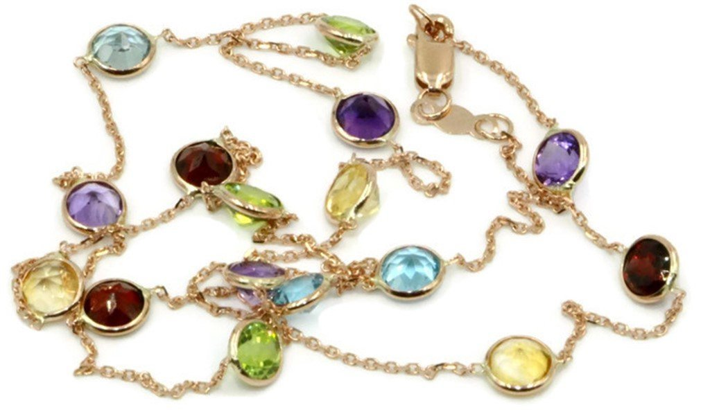 Multicolor 5 mm Gemstones 20 Inches Necklace 14k Rose Gold Chain,3.8 Grams