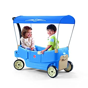 Amazon Step2 All Around Canopy Wagon Blue Toys Games
