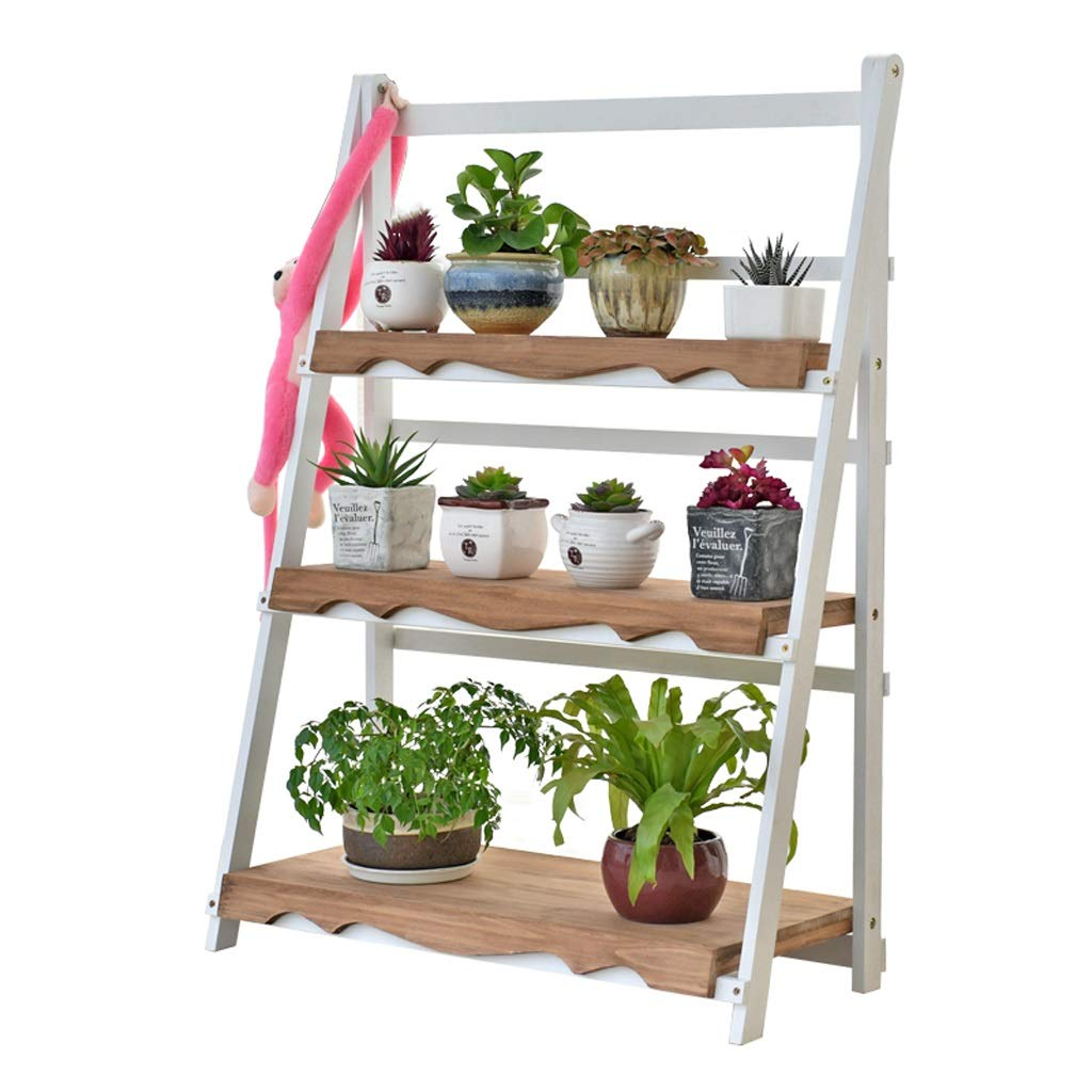 SLH White Length 70cm Retro Balcony Living Room Indoor Flower Pot Rack European Solid Wood Multi-Layer Flower Stand