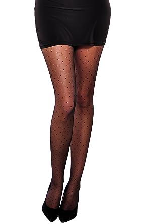 08b9573beb4 Amazon.com  Women black sheer tights pantyhose polka dot pattern 20 den  Vesa  Clothing