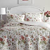 3pc Red White Green Full Queen Quilt Set, Cotton, Floral Pattern Themed Bedding French Country Shabby Chic Polka Dot Cottage Cabin Flower Rose Nature Vintage Antique Garden