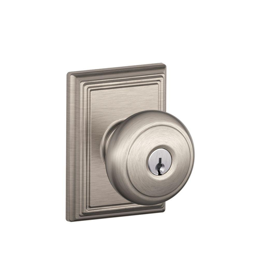 Aged Bronze Schlage F51 GEO 716 Georgian Knob Keyed Entry Lock