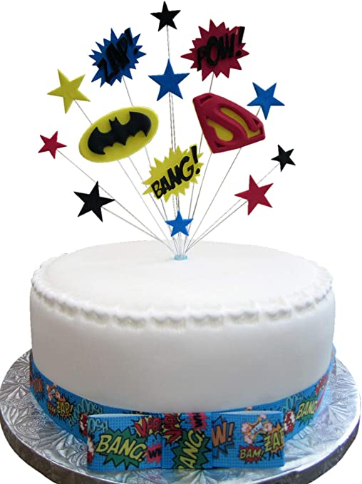 Groovy Batman Vs Superman Superhero Birthday Cake Topper Suitable For A Personalised Birthday Cards Rectzonderlifede