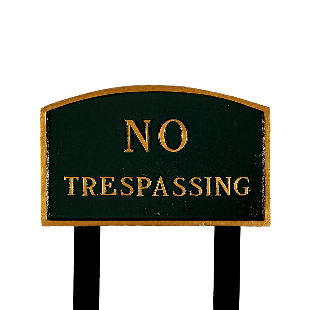 Montague Metal Products SP-7L-HGG-LS Large Hunter Green and Gold No Trespassing Arch Statement Plaque with 2 23-Inch Lawn Stakes by Montague Metal Products