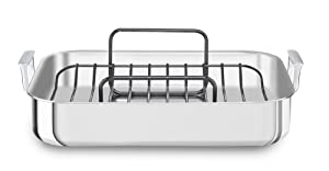 "KitchenAid KitchenAid KC1T16RP 16"" Tri-Ply Stainless Steel Roaster with Rack - Brushed Exterior and Polished Interior, Brushed Steel"