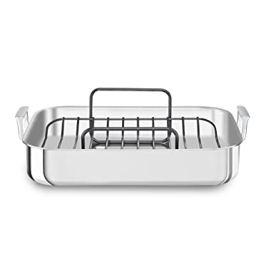 KitchenAid KitchenAid KC1T16RP 16  Tri-Ply Stainless Steel Roaster with Rack - Brushed Exterior and Polished Interior, Brushed Steel