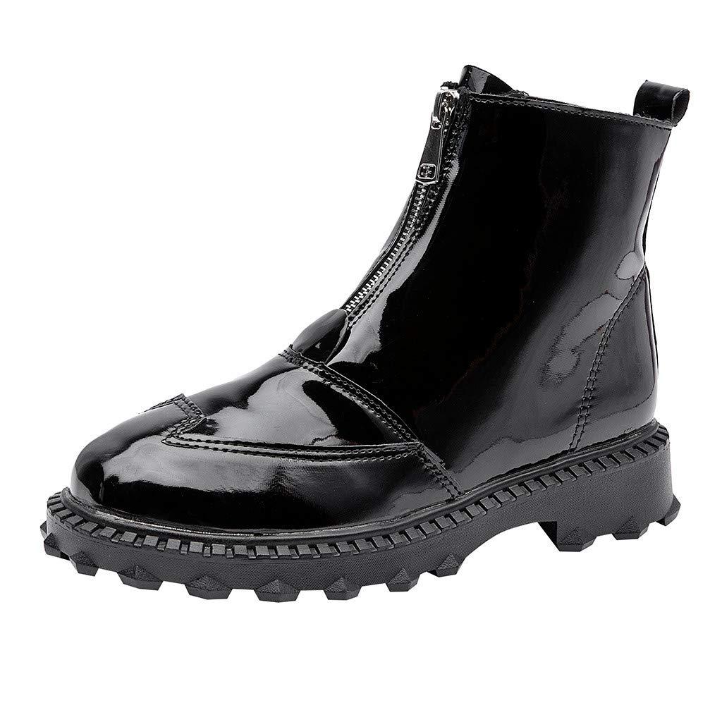 SSUPLYMY Damen Mode Kurze Stiefel rutschfeste Reißverschluss Regenstiefel Elegant Einfarbig Booties Blockabsatz Damenstiefel Freizeitschuhe Lederstiefel