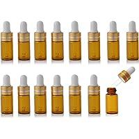 Enslz 15 Stuks Mini Amber Hervulbare Glas Essentiële Olie Flessen Oogdruppelaar voor Essentiële Oliën Parfums…