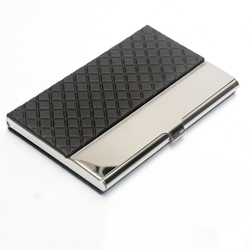 Business card holder steel business cards holder for men women pocket business card case stainless steel leather embossed credit id card holders business name card organiser magicingreecefo Choice Image
