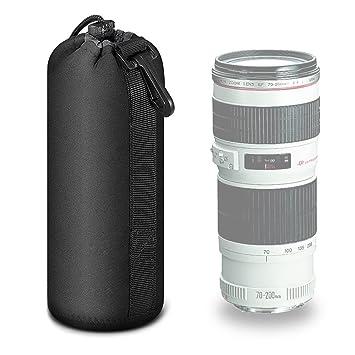 Mekingstudio Bolsa de Objetivo Lente DSLR Cámara de Neopreno 22*10cm Protector Negro Suave Lens Pouch Bag para Sony Canon Nikon Olympus Pentax ...