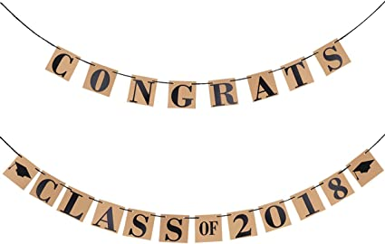 LUOEM 2018 Graduation Banner Class of 2018 Graduation Sign Photo Props Doctorial Hat Paper Banners Graduation Party Accessories