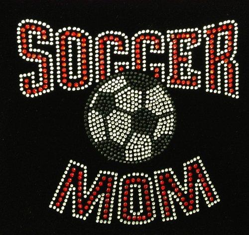 Soccer Mom Red ark Rhinestone Transfer Iron On Hot Fix Motif Bling Applique - DIY
