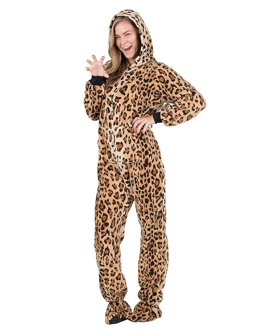 Footed Pajamas Cheetah Spots Adult Hoodie Chenille Onesie
