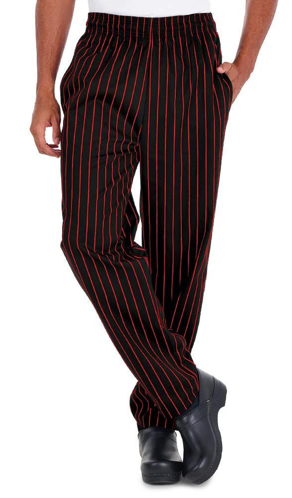 Men's Chalk Stripe Red Chef Pant (XS-3X) (Medium) by ChefUniforms.com