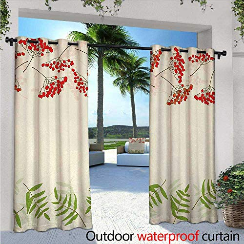 Single Panel Print Window Curtain W72 x L108 Graphic Border Design Berries Mountain Ashes Botanical Nature Themed Silver Grommet Top Drape Vermilion Ivory Fern Green ()