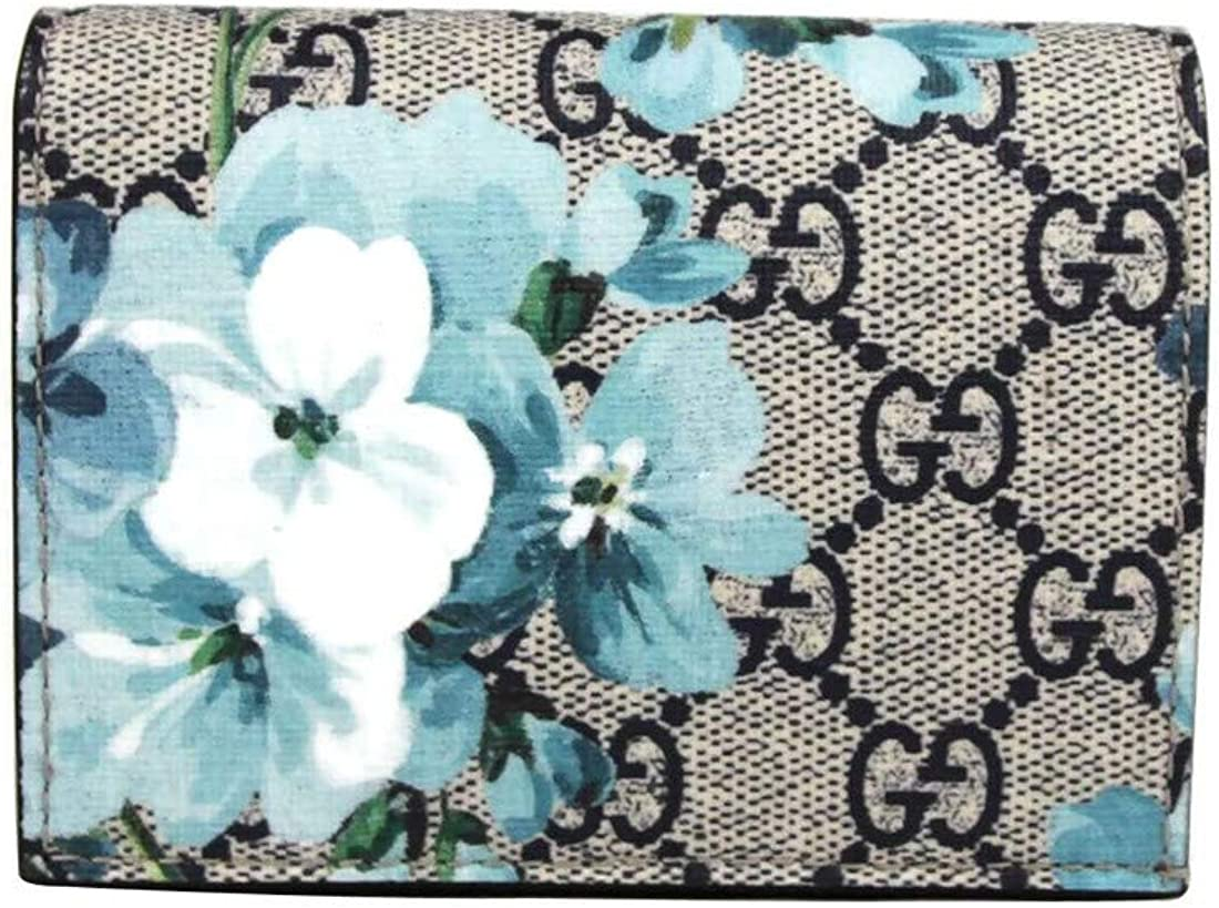 Image of Gucci Women's Blue Bloom Flap Coated Canvas Wallet Card Case 546372 8492