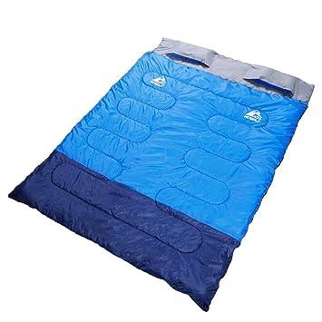 LIUDADA Saco de Dormir - Saco de Dormir Doble, Primavera y otoño, Saco de Dormir de algodón (Color : Azul): Amazon.es: Deportes y aire libre