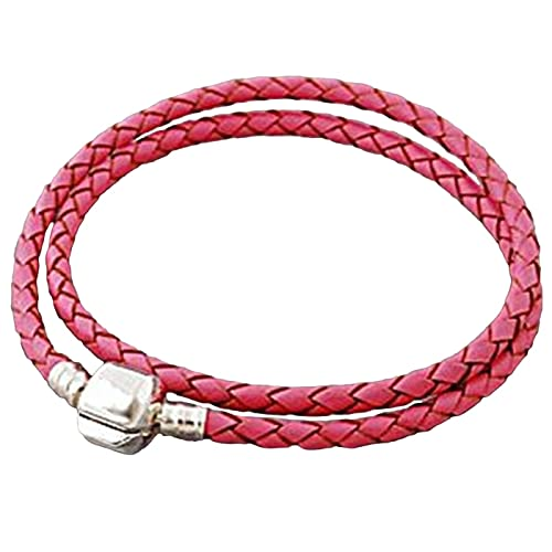 8e6645848 Image Unavailable. Image not available for. Color: Charm Buddy 39cm 19cm  Pink Leather Double Wrap Pandora Style Bracelet ...