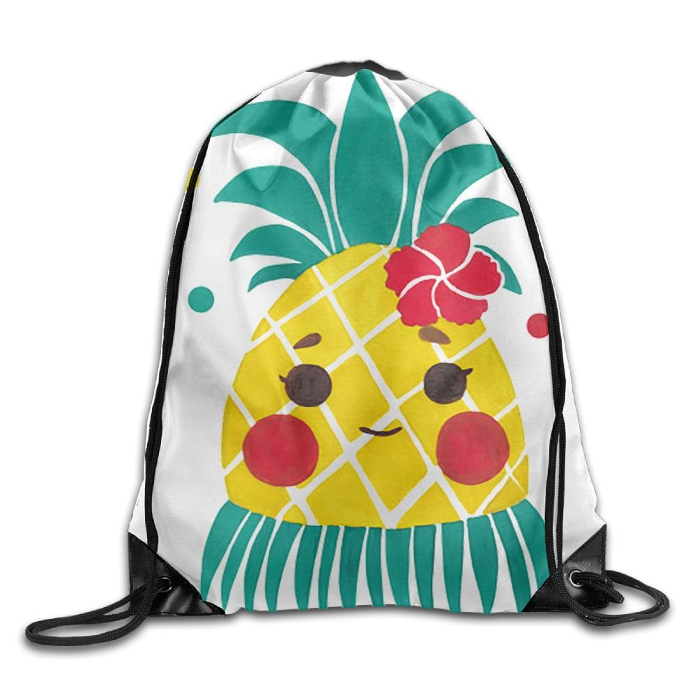GGFUIS9 3D Print Miss Hawaiian Pineapple Shoulders Bag Women Fashion Backpack Girls Beam Port Drawstring Travel Shoes Dust Storage Bags