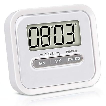 KLAGENA Temporizador con cronómetro, Incluye imán y Soporte de fijación - Reloj de Cocina Digital