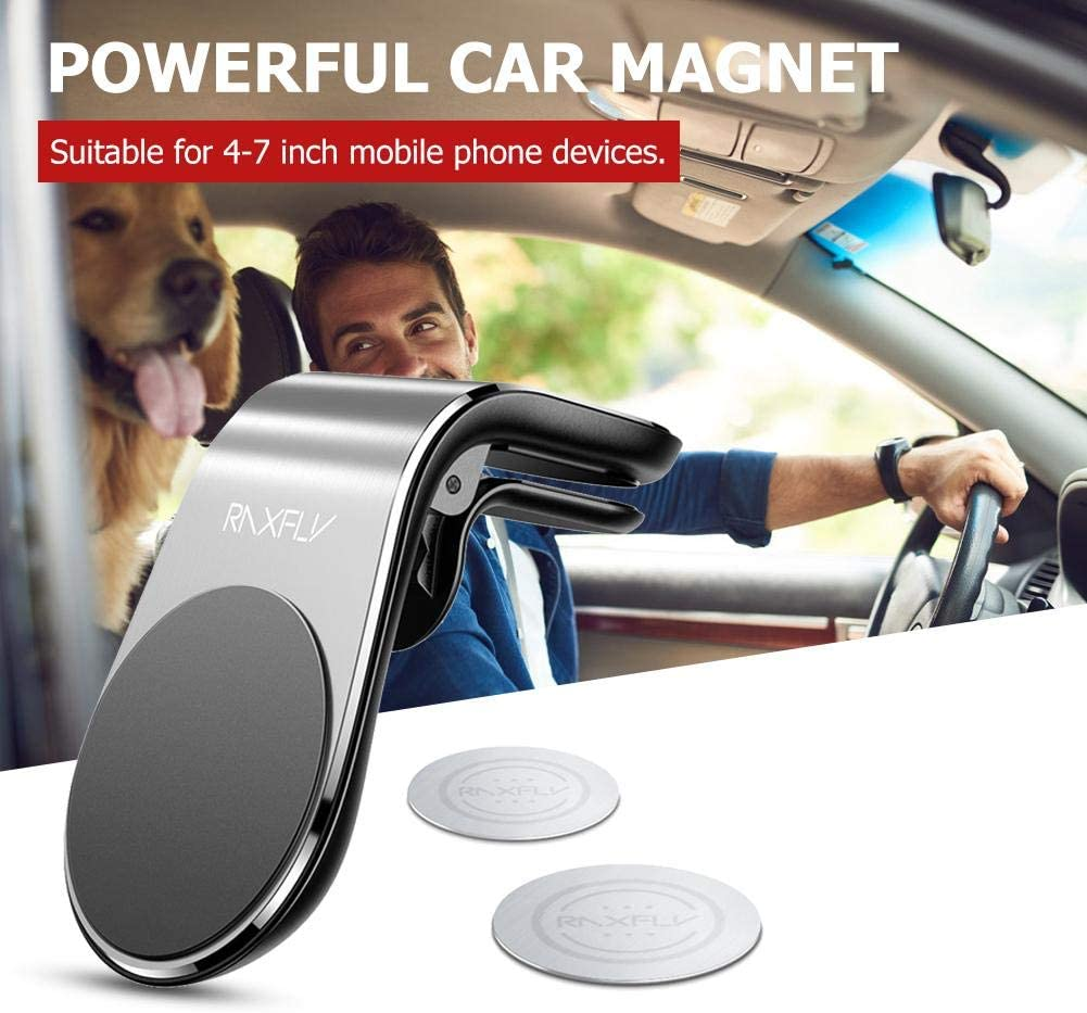 Silver Magnetic Car Phone Holder mount magnets L-Type Air Vent Rack for 4-7 inch