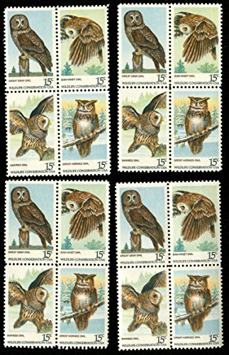 American Owls * Great Gray Owl * Saw-Whet Owl * Barred Owl * Great Horned Owl * Special Set of 16 US Postage Stamps (Scott ()