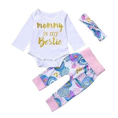fe4321a1ea30 Winsummer Newborn Baby Unisex 3pcs Outfits Letter Heart Long Sleeve Romper  Floral Pants +Hat