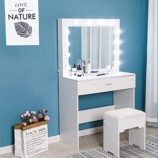 US Fast Shipment Vanity Set w Lighted Mirror, Makeup Dressing Table with 12 LED Dimmable Bulbs, Touch Switch, 2 Drawers with Divider, Modern Bedroom Makeup Table w Cushioned Stool for Women White