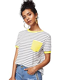 5c12db2b187 SweatyRocks Women Striped Short Sleeve Ringer Tee T-Shirt Top with Pocket