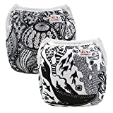 Alva Baby 2pcs Pack One Size Reuseable Washable Printed and Positioning Swim Diapers SWD30-33-CA