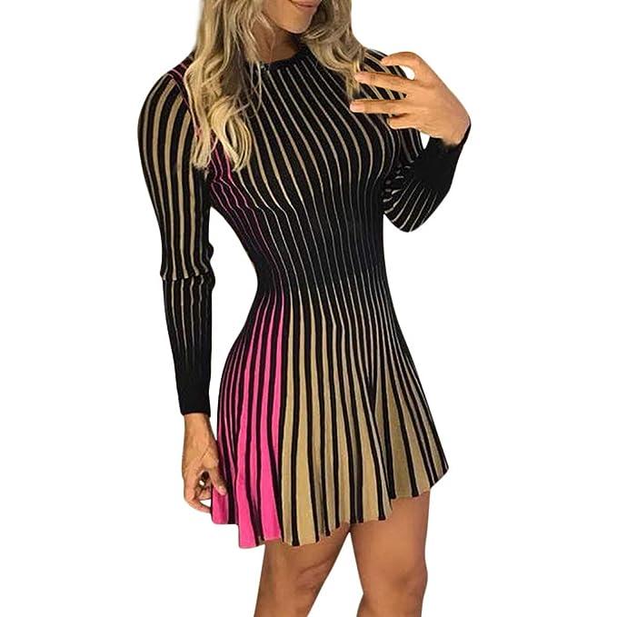 91c4578eb Mujer Vestidos Sexy Bodycon Vestido Vestido de Volante de la Cadera de  Vestido de Noche Cuello Redondo a Rayas de Las Señoras  Amazon.es  Ropa y  accesorios
