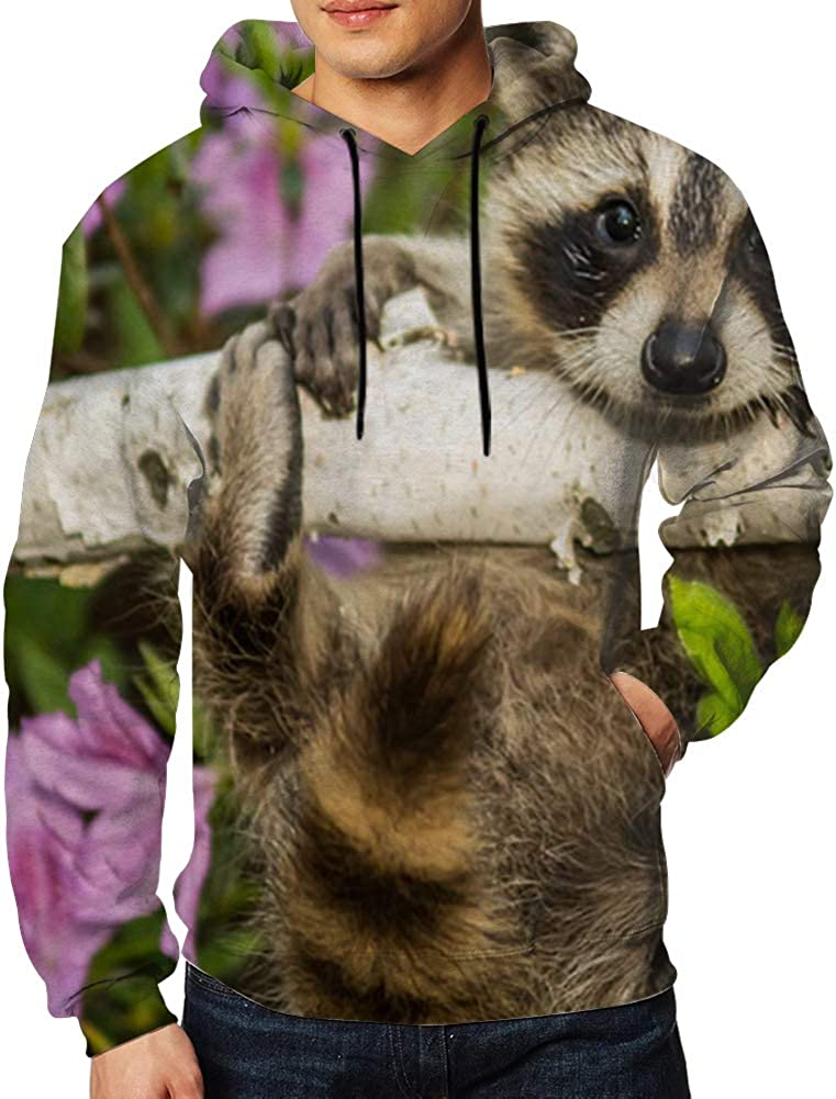 Mens Hooded Sweatshirt Long Sleeve Hoodie Baby Raccoon Animals Animal Pullovers Sweaters Big Pockets