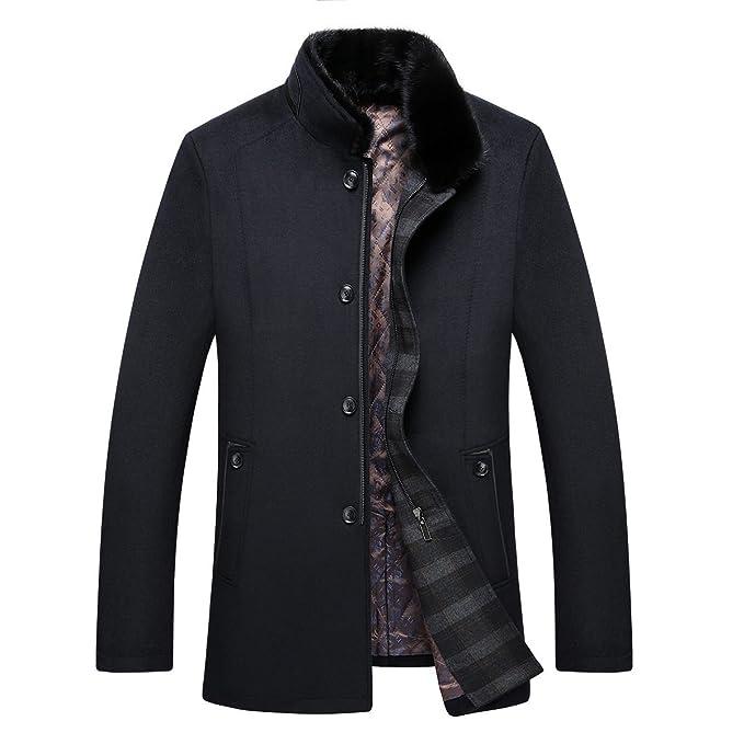 HGDR Cappotto da Uomo in Lana con Collo Alto in Pelliccia di Visone Lungo   Amazon.it  Abbigliamento a520e3a334d