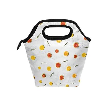 9f44ed819c48 Amazon.com - HEOEH Fruit Lemon Orange Lunch Bag Cooler Tote Bag ...