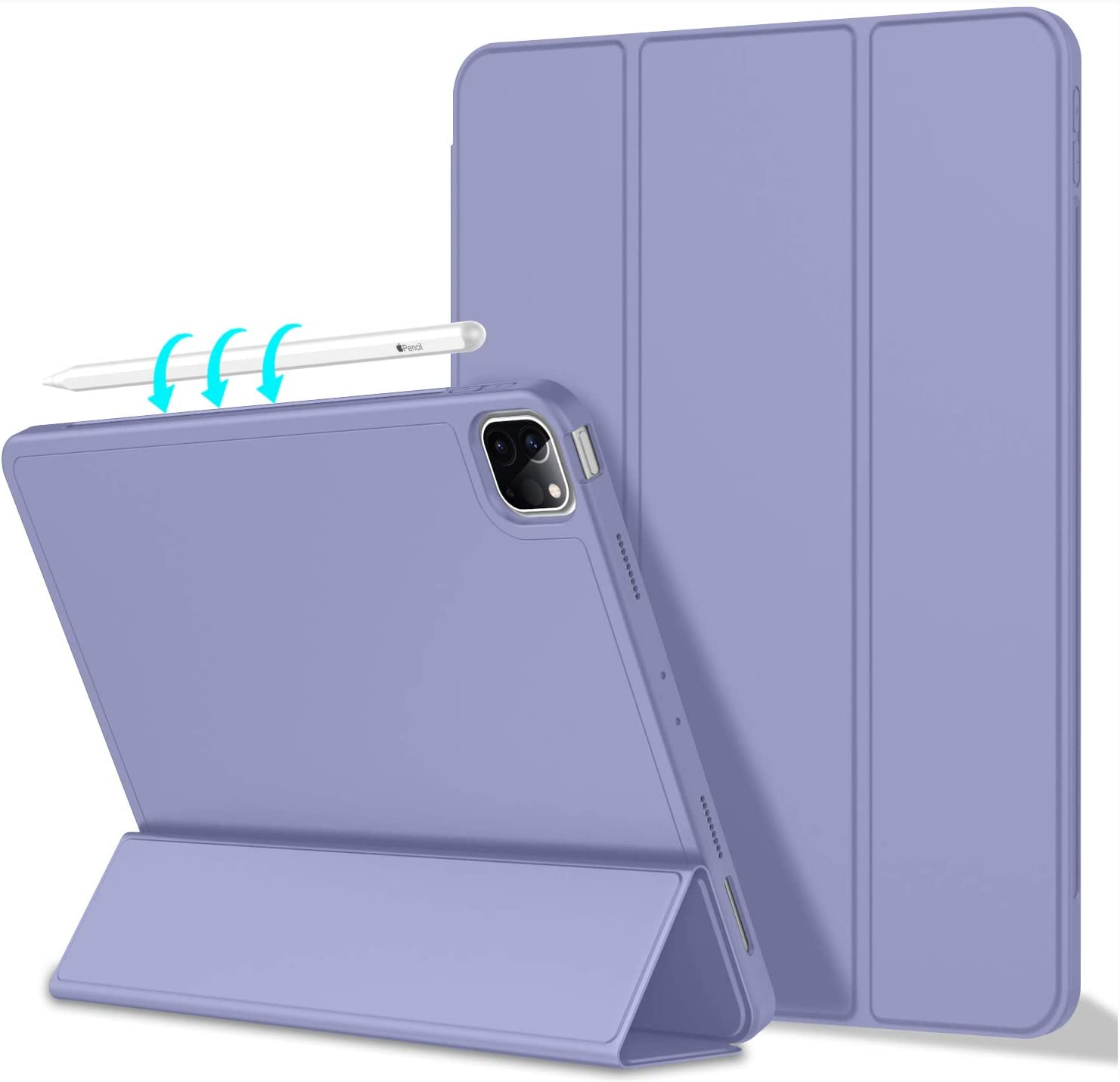 ToaPoia Case for iPad Pro 11 Inch Case 2021(3rd Gen) with Pencil Holder, Premium Protective Case Cover with Soft TPU Back and Auto Sleep/Wake Feature for 2021 iPad Pro 11(Purple)