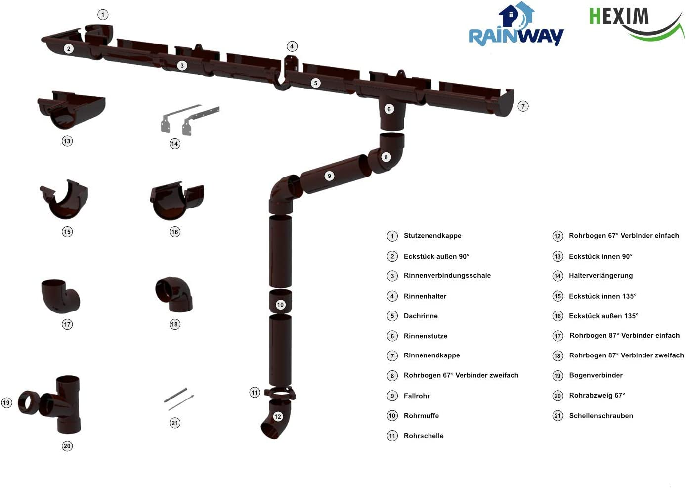 4 colores RainWay90 100 m2, PVC Juego completo de canalones para tejado