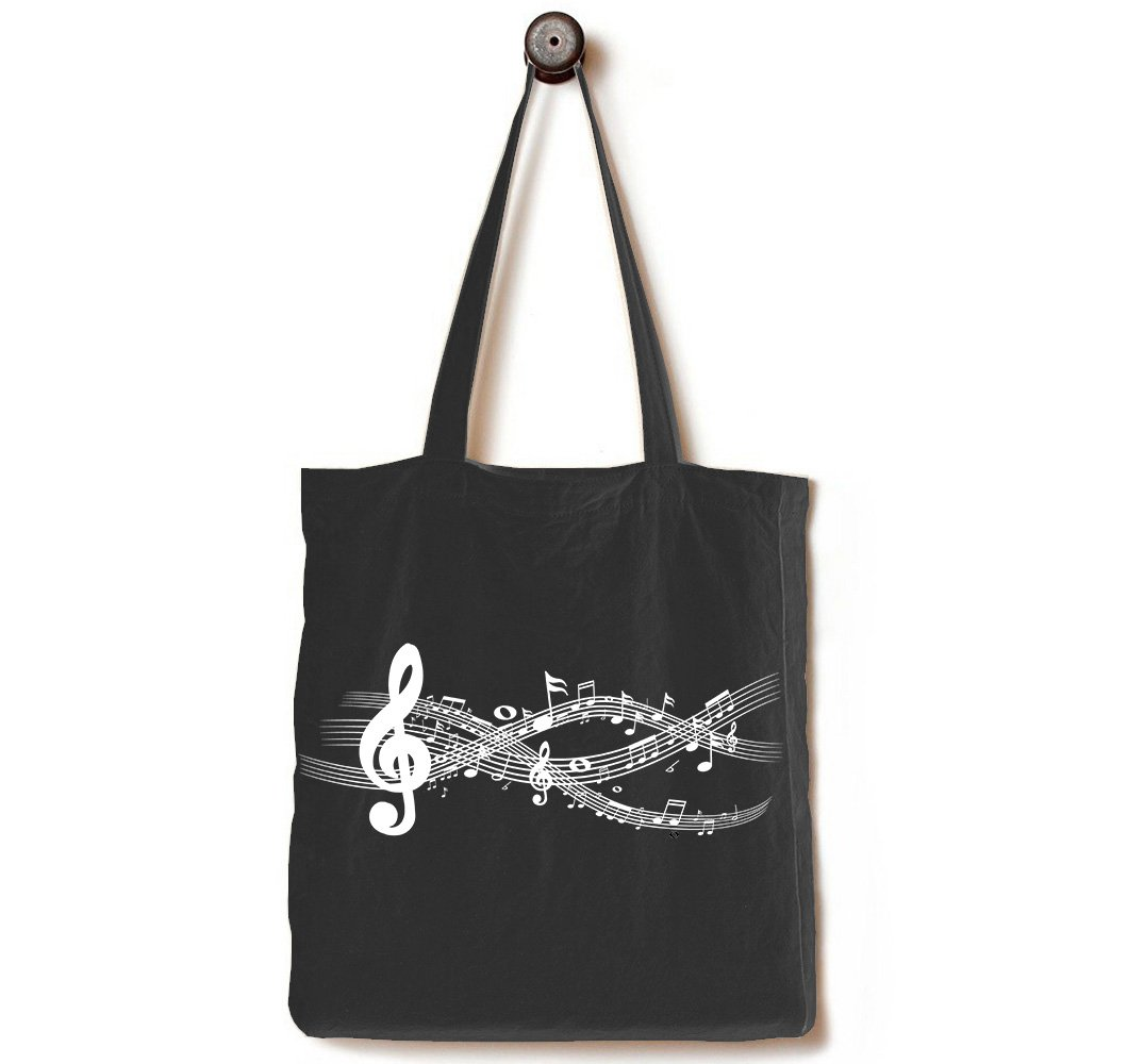 Gusseted Black Canvas Tote Bag, Handmade from Heavy Duty 12-ounce Cotton, Perfect for Shopping, Laptop, School Books, The Musical Notation Black by Andes