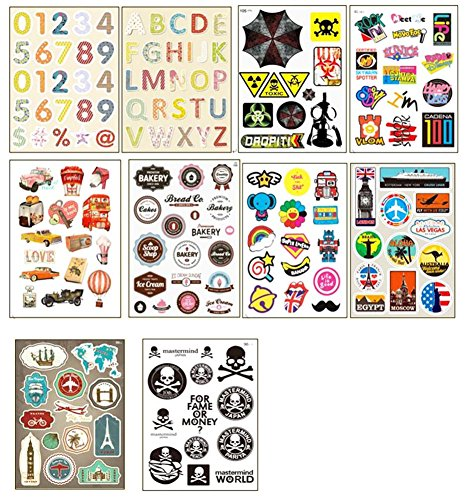10 PCS Fixed Gear Bicycle Sticker Bikes Decorations Suitcase Sticker-01 by George Jimmy