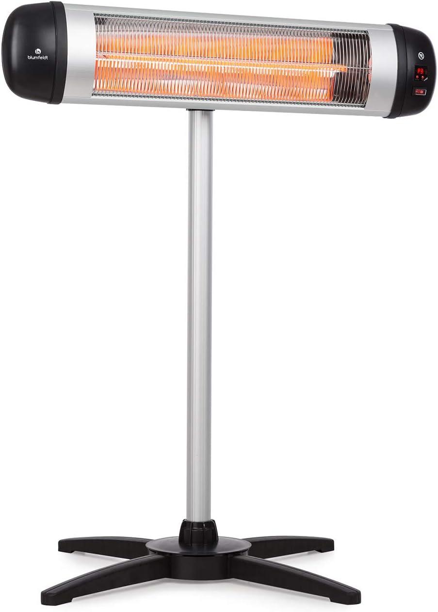 Blumfeldt Rising Sun - Radiador infrarrojo - elemento calefactor de carbono - emisión calor dirigida - ajuste de altura de 70cm - soporte trípode - 850 1650 2500W - resistente al agua IP34 - Aluminio