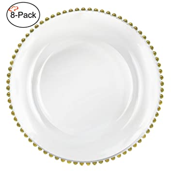 Tiger Chef 13-inch Clear Round Beaded Glass Charger Plates Set of 24  sc 1 st  Amazon.com & Amazon.com | Tiger Chef 13-inch Clear Round Beaded Glass Charger ...