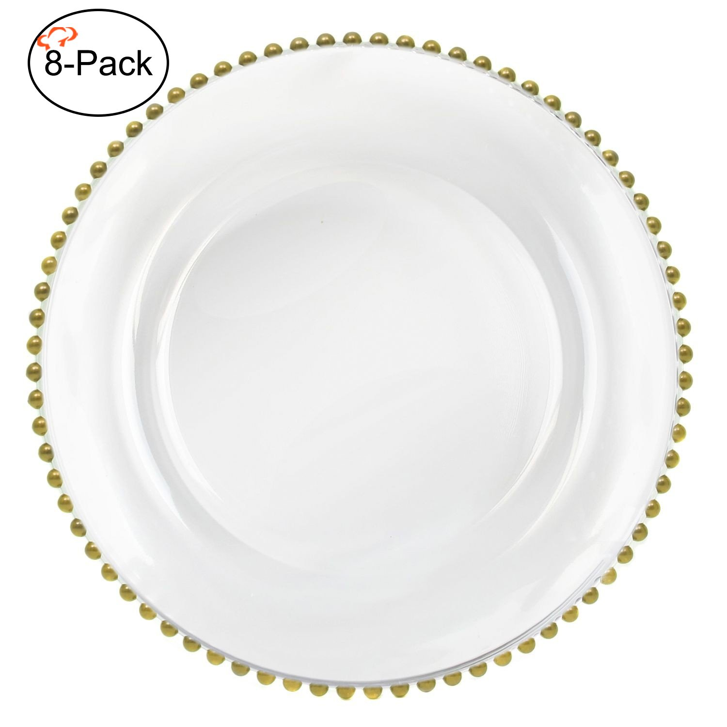 Tiger Chef 13-inch Clear Round Beaded Glass Charger Plates Set of 2,4,6, 12 or 24 Dinner Chargers 8-Pack (8, Gold)