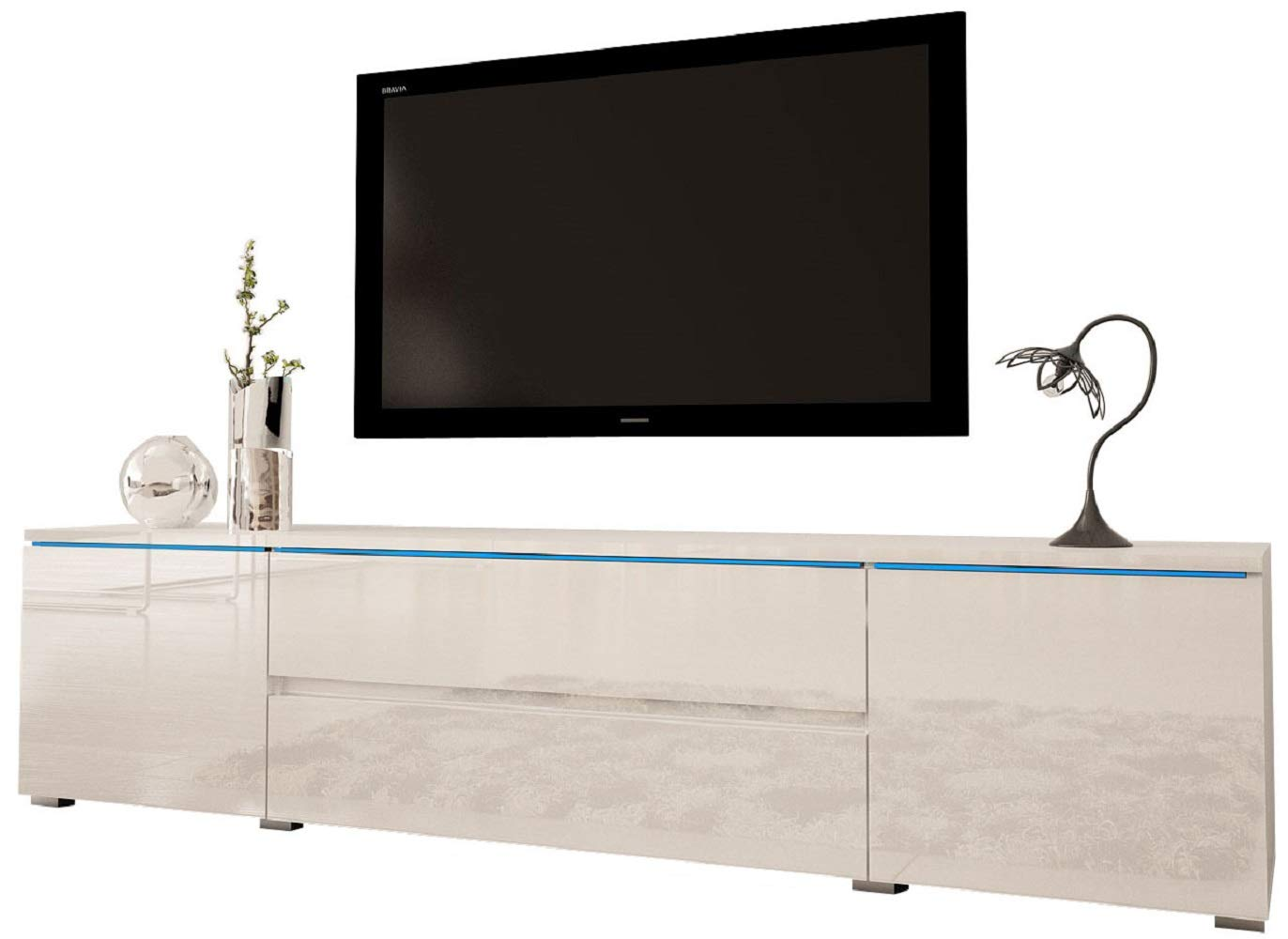 Meble Furniture & Rugs Euphoria 79'' Modern TV Stand, White by Meble Furniture & Rugs