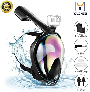 Yachee Full Face Snorkel Mask with UV Protection Anti-Fog Anti-Leak Ear Pressure Balance Snorkeling Mask with 180 Panoramic View Detachable Camera Mount Earplugs Carrying Bag for Adults and Youth