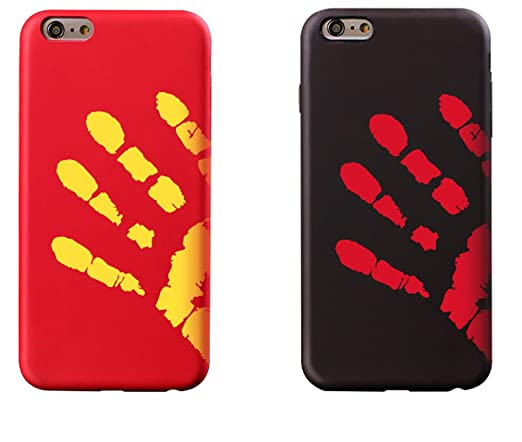 online retailer 453e5 87c84 Thermal Induction case,iPhone SE/5S/5 Case, Magical Color Changing Thermal  Sensor Fluorescent Thermal Heat Induction Matte Back Case-Black+Red
