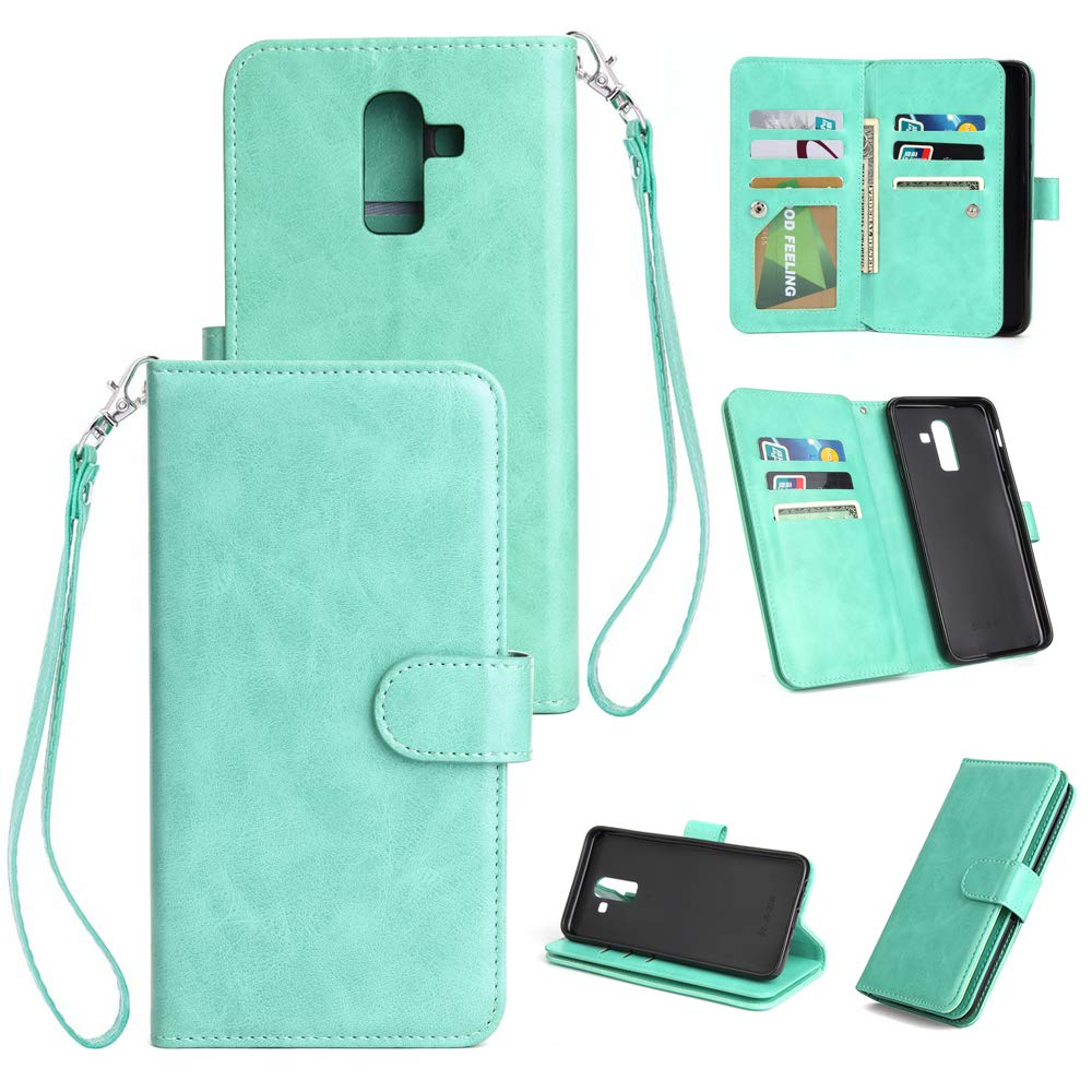 AICEDA Samsung Galaxy J8 2018 Wallet Multi Card Holder Protective Shell Wallet Folio PU Leather Cover with Wallet Case Replacement for Samsung Galaxy J8 2018 - Mint Green