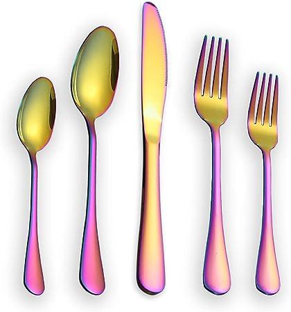 Set di Posate in Acciaio Inossidabile Set di Posate Colorate in Titanio Arcobaleno Lucido Set di Servizi per 6 HOMQUEN Set di Posate Colorate da 30 Pezzi