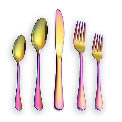 Berglander Juego de cubiertos 30 piezas, acero inoxidable con chapado en oro de titanio colorido, juego de cubiertos multicolor, cubiertos, servicio ...